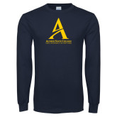 Navy Long Sleeve T Shirt-Institutional Mark - Vertical