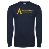 Navy Long Sleeve T Shirt-Institutional Mark - 3 Lines - Horizontal