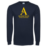 Navy Long Sleeve T Shirt-Institutional Mark - 3 Lines - Vertical