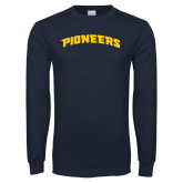 Navy Long Sleeve T Shirt-Arched
