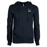 ENZA Ladies Navy Fleece Full Zip Hoodie-Primary Mark - Athletics