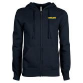 ENZA Ladies Navy Fleece Full Zip Hoodie-Word Mark