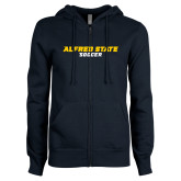 ENZA Ladies Navy Fleece Full Zip Hoodie-Soccer