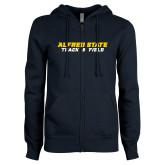 ENZA Ladies Navy Fleece Full Zip Hoodie-Track and Field