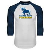 White/Navy Raglan Baseball T Shirt-Primary Mark - Athletics