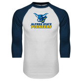 White/Navy Raglan Baseball T Shirt-Ox Head Lock Up