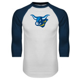 White/Navy Raglan Baseball T Shirt-Ox Head