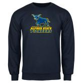 Navy Fleece Crew-Primary Mark - Athletics