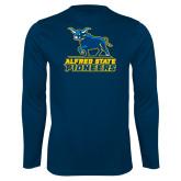 Performance Navy Longsleeve Shirt-Primary Mark - Athletics