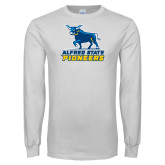White Long Sleeve T Shirt-Primary Mark - Athletics