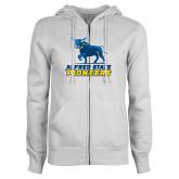 ENZA Ladies White Fleece Full Zip Hoodie-Primary Mark - Athletics