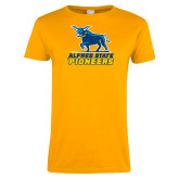 Ladies Gold T Shirt-Primary Mark - Athletics