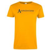 Ladies Gold T Shirt-Institutional Mark - Horizontal