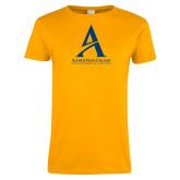 Ladies Gold T Shirt-Institutional Mark - Vertical
