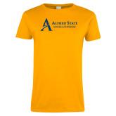 Ladies Gold T Shirt-Institutional Mark - 3 Lines - Horizontal