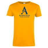 Ladies Gold T Shirt-Institutional Mark - 3 Lines - Vertical