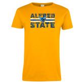 Ladies Gold T Shirt-Block Text Distressed