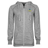 ENZA Ladies Grey/Black Marled Full Zip Hoodie-Primary Mark - Athletics