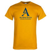 Gold T Shirt-Institutional Mark - 3 Lines - Vertical