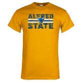 Gold T Shirt-Block Text Distressed