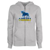 ENZA Ladies Grey Fleece Full Zip Hoodie-Primary Mark - Athletics