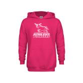 Youth Raspberry Fleece Hoodie-Primary Mark - Athletics