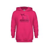 Youth Raspberry Fleece Hoodie-Primary Mark - Athletics Foil