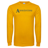 Gold Long Sleeve T Shirt-Institutional Mark - Horizontal