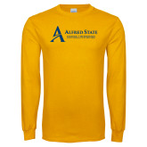 Gold Long Sleeve T Shirt-Institutional Mark - 3 Lines - Horizontal