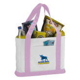 Contender White/Pink Canvas Tote-Primary Mark - Athletics