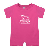 Bubble Gum Pink Infant Romper-Primary Mark - Athletics