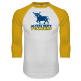 White/Gold Raglan Baseball T Shirt-Primary Mark - Athletics