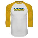 White/Gold Raglan Baseball T Shirt-Word Mark