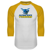 White/Gold Raglan Baseball T Shirt-Ox Head Lock Up