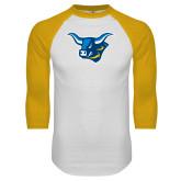 White/Gold Raglan Baseball T Shirt-Ox Head
