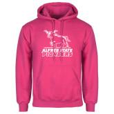 Fuchsia Fleece Hoodie-Primary Mark - Athletics