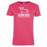 Ladies Fuchsia T Shirt-Primary Mark - Athletics