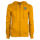 ENZA Ladies Gold Fleece Full Zip Hoodie-Primary Mark - Athletics
