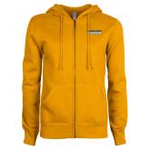 ENZA Ladies Gold Fleece Full Zip Hoodie-Word Mark