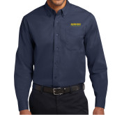 Navy Twill Button Down Long Sleeve-Word Mark