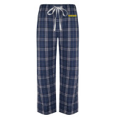 Navy/White Flannel Pajama Pant-Word Mark