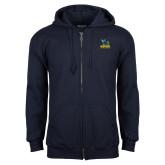 Navy Fleece Full Zip Hoodie-Primary Mark - Athletics