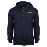 Navy Fleece Full Zip Hoodie-Word Mark