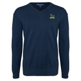 Classic Mens V Neck Navy Sweater-Primary Mark - Athletics