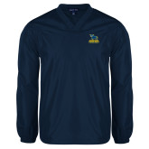 V Neck Navy Raglan Windshirt-Primary Mark - Athletics
