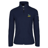 Columbia Ladies Full Zip Navy Fleece Jacket-Primary Mark - Athletics
