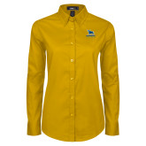 Ladies Gold Twill Button Down Long Sleeve-Primary Mark - Athletics