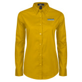 Ladies Gold Twill Button Down Long Sleeve-Word Mark