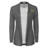 Ladies Heather Grey Open Front Cardigan-Primary Mark - Athletics