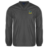 V Neck Charcoal Raglan Windshirt-Primary Mark - Athletics